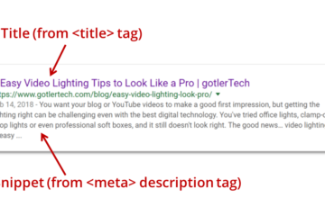 Google search result with page title and meta description snippet
