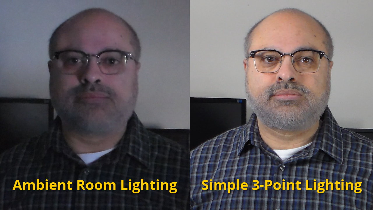 Video Lighting - Comparison of room lighting and simple 3-point lighting